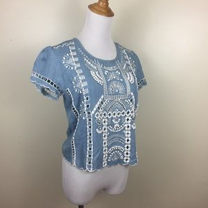 LOVERS + FRIENDS Embroidery Rhinestones Shirt Top